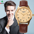 WACH XFCS Fashion Watch Men 2016 Mens Watches Top Brand Luxury Gold Watch Waterproof Leather Clock Men Business Wristwatch