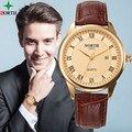 WACH XFCS Hombres Del Reloj de Moda 2016 Relojes Para Hombre de Primeras Marcas de Lujo Reloj de Oro A Prueba de agua Reloj de Los Hombres de Negocios Reloj de Pulsera de Cuero