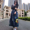 2016 весна лето новый Микки шаблон длинные вышитые джинсы ремень юбка B0003