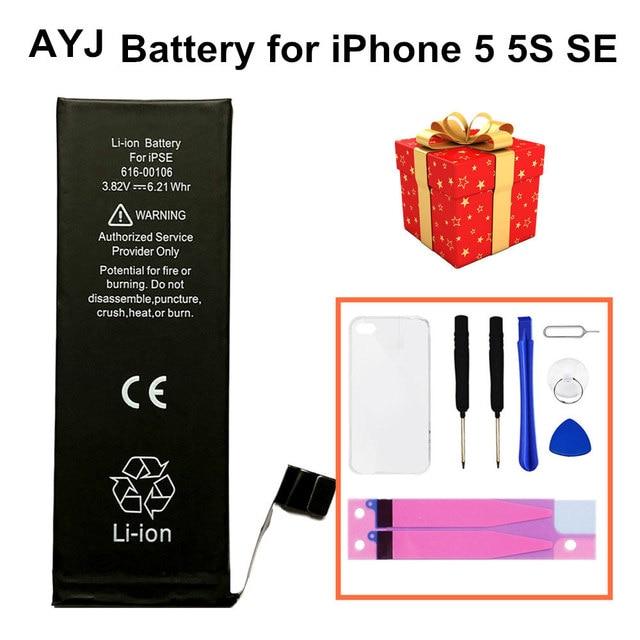 AYJ באיכות גבוהה סוללה עבור iPhone 5 5S 5C SE 5SE החלפת אפס 0 מחזור משלוח תיקון כלים ערכת סוללה קלטת TPU מקרה
