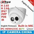 Dahua estelar ipc-hdw4233c-a h2.65 microfone embutido hd 2mp ir 50 m rede ip câmera de segurança cctv dome suporte para câmera poe hdw4233c-a