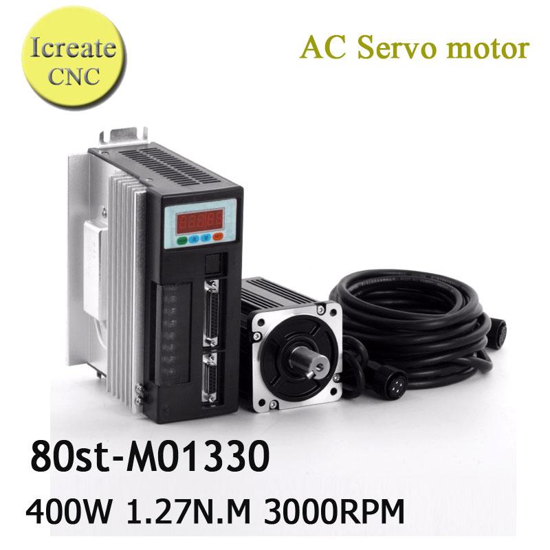 все цены на Free Shipping 3000RMP CNC Servo Motor Kit 80ST-M01330 220V AC Servo Motor 400W 1.27N.M Three Phase Motors онлайн