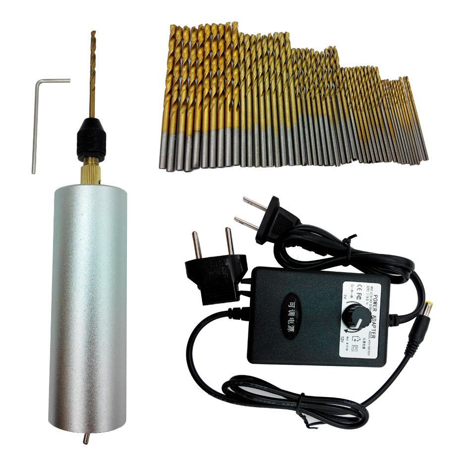 3-12V Adjustable Speed Hand Drill Motor Hole Saw Aluminum Mini Electric DIY PCB with 50pc drill for Wood Plastic Drilling