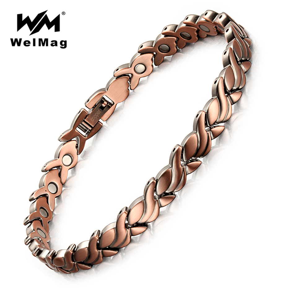 WelMag New arrival Red Copper Magnetic Bio Energy Bracelets & Bangles for Women Healing Magnet Bracelet Female Jewelry 2019