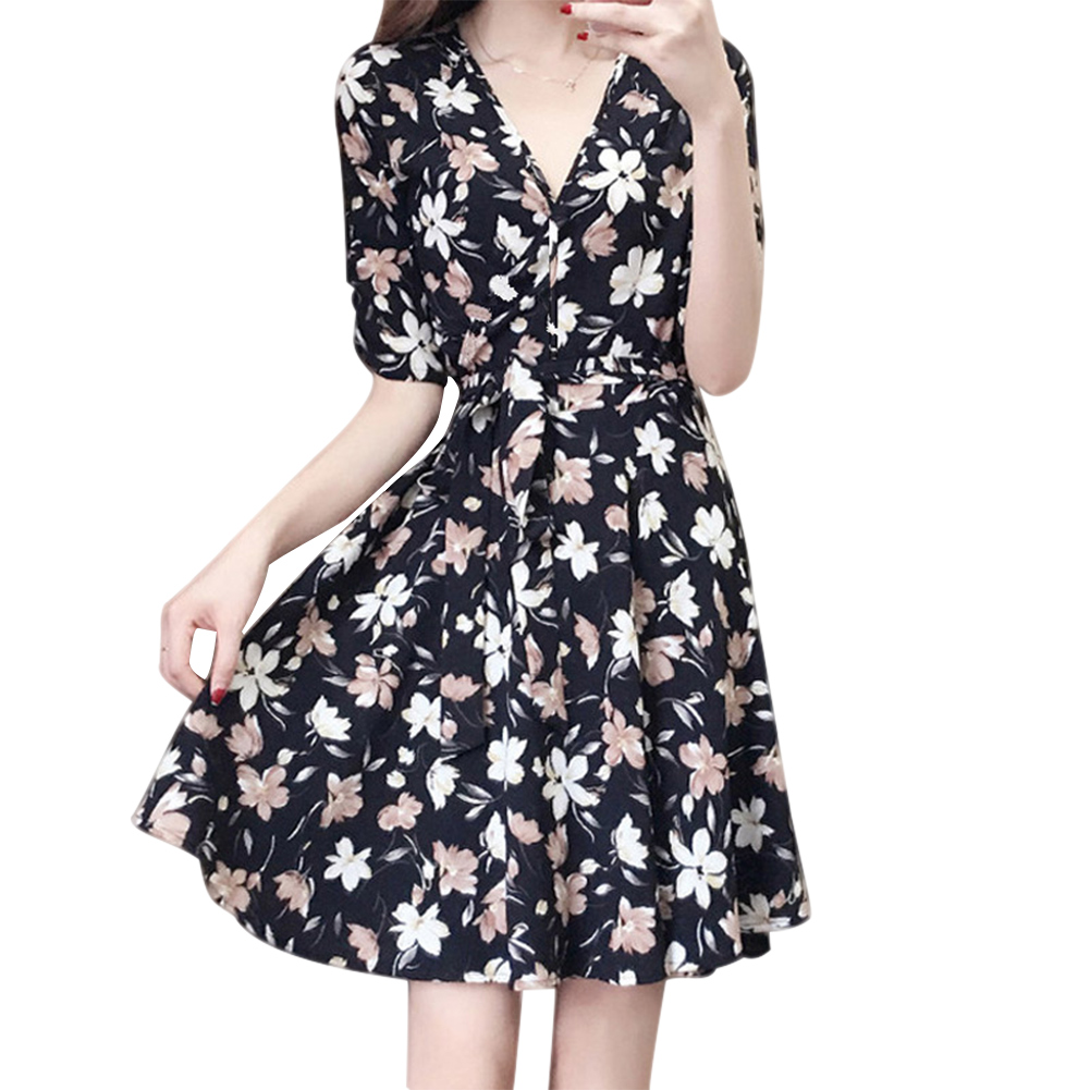 1 Pcs Women Lady Dress Floral Printing V Neck Medium Length Fashion for Summer FS99