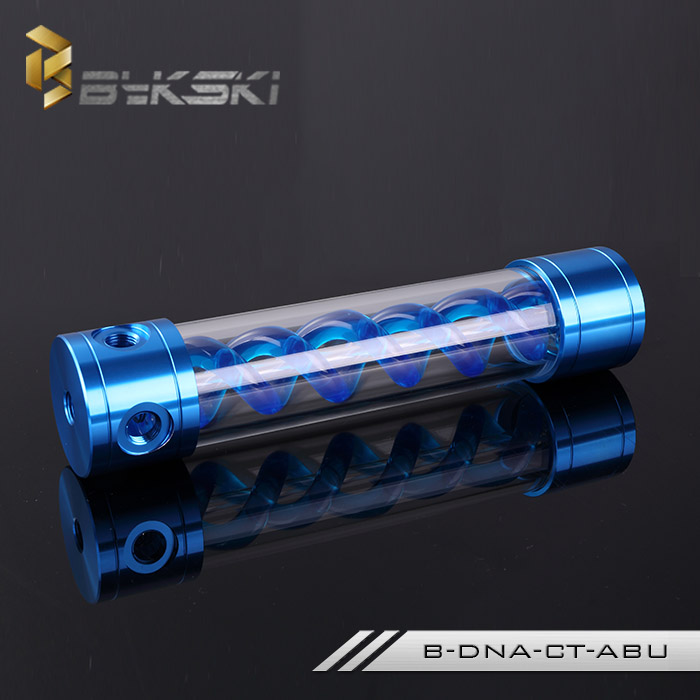 все цены на BYKSKI 260MM X 50MM T-Virus Double Helix Cylindrical Water-Coolant Tank Aluminum+ Acrylic 6 holes Blue with Light B-DNA-CT-ARD онлайн