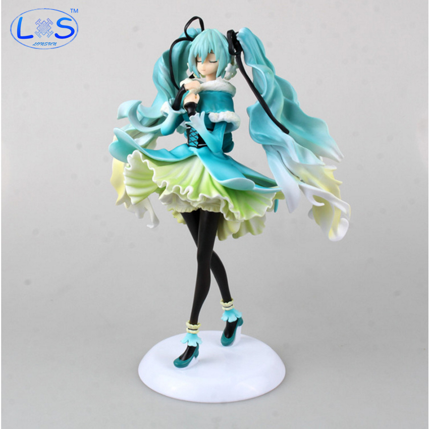 (LONSUN)28cm Hatsune Miku Anime Collectible Action Figure Snow in Summer PVC Toys Christmas Gift With Retail Box volume order 5set japan anime racing hatsune miku with motor action pvc figure toy tall 13cm in box via ems shipping