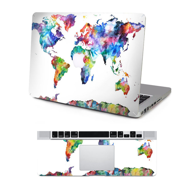 ordinateur portable vinyle sticker carte du monde pour macbook air pro retina multicolore. Black Bedroom Furniture Sets. Home Design Ideas