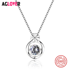 Real 925 Sterling Silver Necklace For Women Fine Jewelry Classic Zircon Four Leaf Clover Pendant Necklace Choker