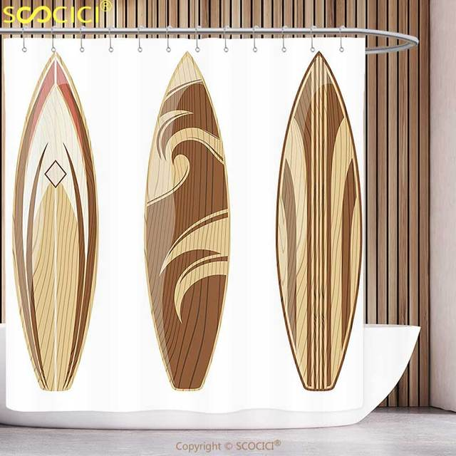 l gant rideau de douche planche de surf d cor collection en bois planches de surf aventureux. Black Bedroom Furniture Sets. Home Design Ideas