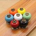 Rustico rural sete cores abóbora cerâmica puxadores para móveis de bronze dresser maçanetas gaveta do armário knob azul branco preto verde