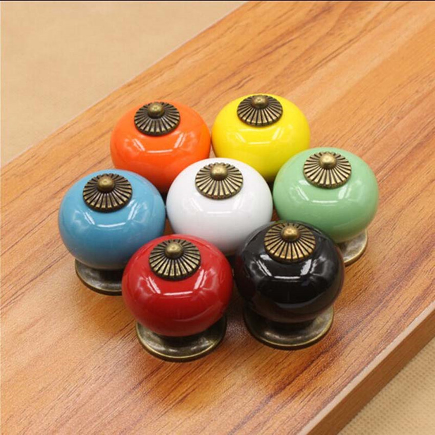 Rustico rural seven color pumpkin ceramic furniture knobs bronze dresser door handles blue white black green drawer cabinet knob