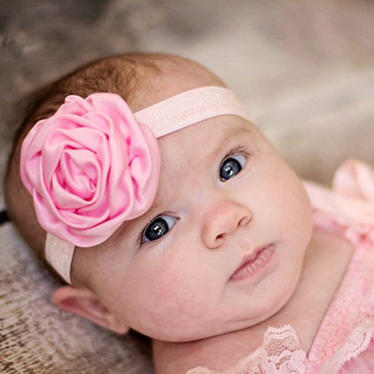 1 Stuk Maya Stepan Baby Hoofdband Lint Bloemen Bloem Handgemaakte Diy Peuter Infant Kid Haar Meisje Pasgeboren Bloem Elastische Rose