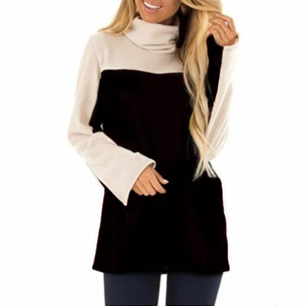 Autumn Casual Women Color Block Cowl Neck Long Sleeve T-Shirt Loose Tunic Top