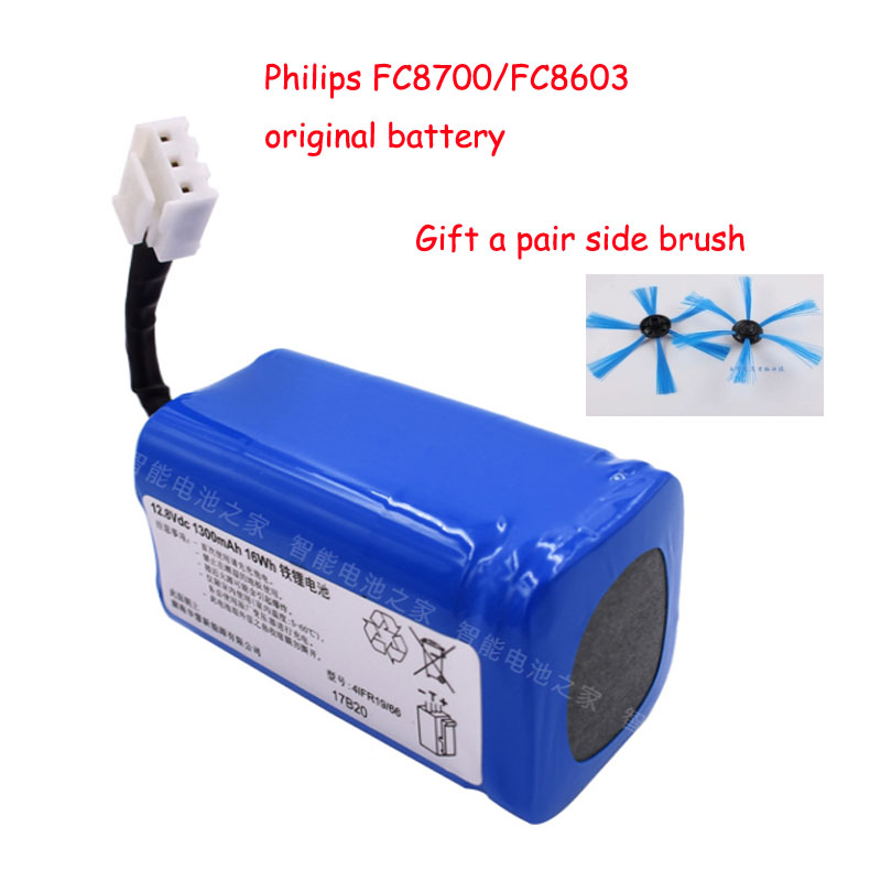 12.8V 1300mAh Robot Vacuum Cleaner Parts Battery Pack rechargeable for philips FC8700 FC8603 Original battery+1*pair side brush original xr510 parts for vacuum cleaners 14 4v battery for robot vacuum cleaner 2200mah brand new battery vacuum cleaner