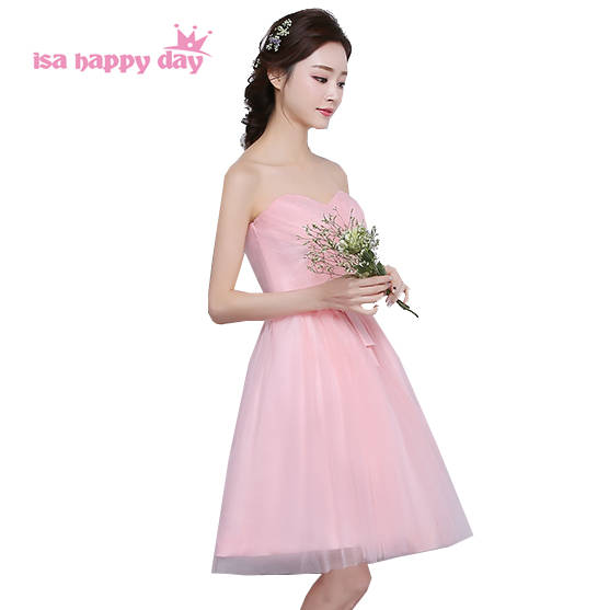 elegant light pink bridesmaid party dresses for teens short strapless  sweetheart ball dress 2019 pictures for b24283001b8e