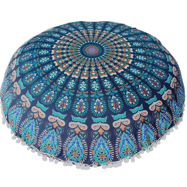 Big 80CM Mandala flower floor pillow cover ornament Round Bohemian ...