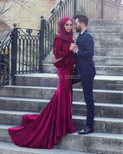 Long Sleeves Mermaid Red Velvet Hijab Muslim Evening Dress Arabic Dubai Long Party Dress robe de soiree abendkleider