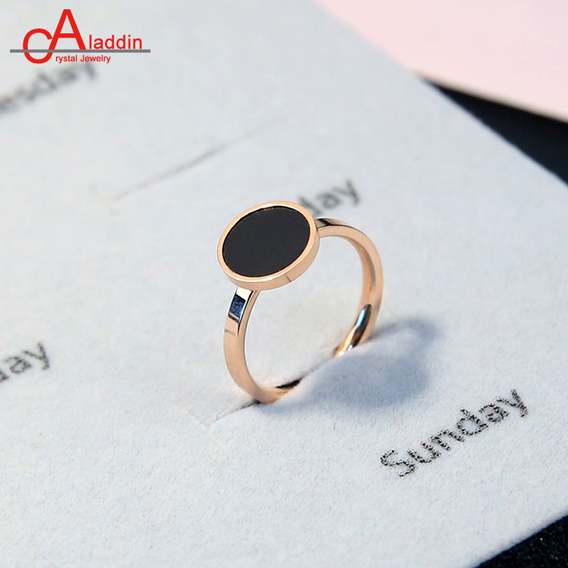 Aladdin Titanium steel ring concise OL style Black 1MM round rose gold concise style rings Valentines day gifts for men & women