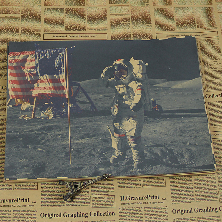 Landing on the moon, a major historic moment in the history of human aviation Kraft retro Poster image