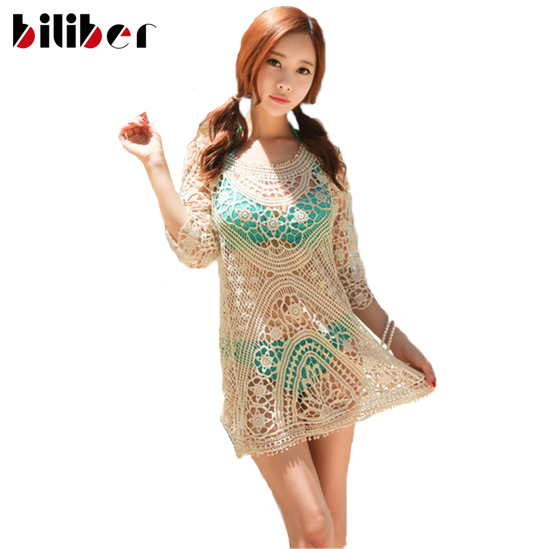bf1556029d008 2016 Sexy lace swimwear cover ups hook flower long sleeve beach cover up  summer dress pareo tunic dress as bikini cover up