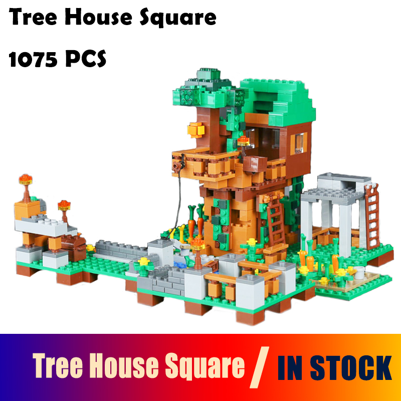 18031 1075pcs Tree House Square Model Building Blocks toys Minecraft compatible with lego My World toys & hobbies for Children my world tree house brick scene series steve mini blocks model building blocks kit toys for children compatible 21125
