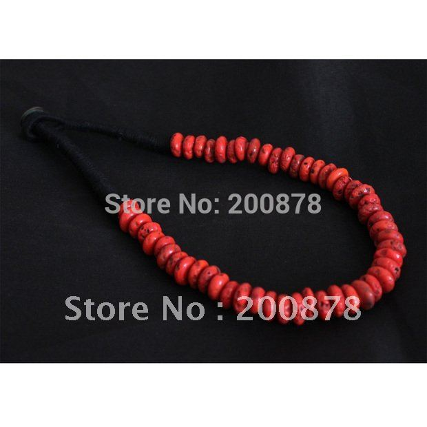 TNL327 Tibetan antiqued red coral Disk Beads necklace,Nepal vintage fashion necklace Wholesale