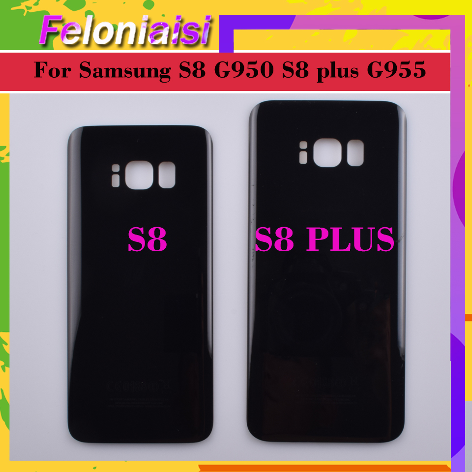 For Samsung Galaxy S8 G950 <font><b>G950F</b></font> <font><b>SM</b></font>-<font><b>G950F</b></font> S8+ Plus G955 G955F <font><b>SM</b></font>-G955F Housing Battery Door Rear Back Glass Cover Case image