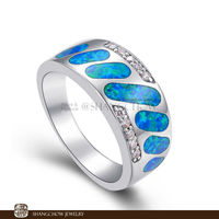 New! Vintage in Fashion Jewelry Blue Fire Opal 925 Sterling Silver women's Ring RP0002