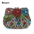 Flower Evening Bag Crystal Bridal Purse Lady Wedding Purse Luxury Rhinestone Clutches  S08212