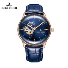 цена New Reef Tiger/RT Designer Casual Watches Convex Lens Rose Gold Blue Dial Automatic Watches for Men RGA8239 онлайн в 2017 году