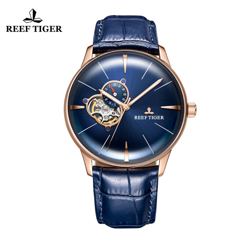Nouveau Récif Tigre/RT Designer Casual Montres Lentille Convexe Or Rose Cadran Bleu Automatique Montres pour Hommes RGA8239