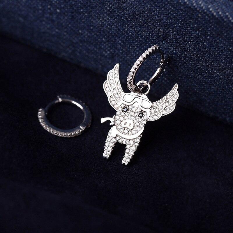 Image 2 - SLJELY New 925 Sterling Silver Asymmetric Pink Flying Piggy  Earrings Pave Zircon CZ Pig Earrings Women Fine Laviateur JewelryDrop  Earrings