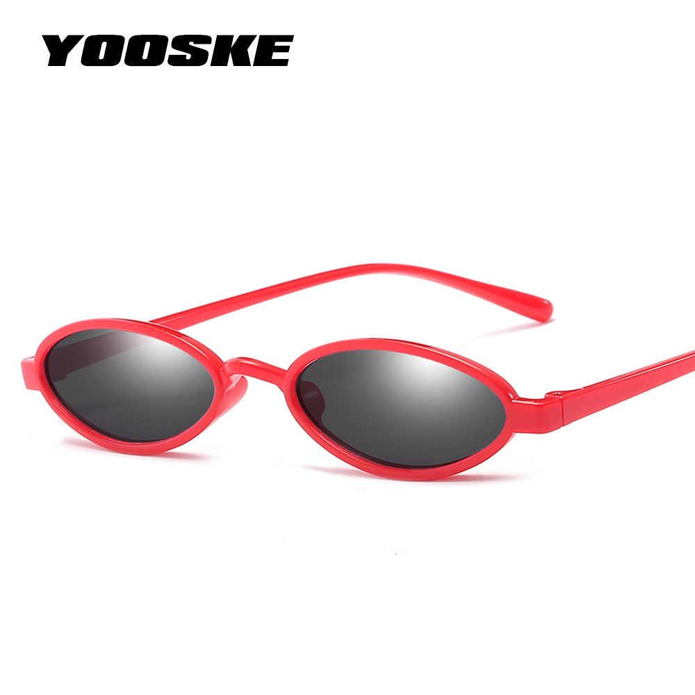 bca5288694 YOOSKE Retro Tiny Cat Eye Sunglasses Women Small Oval Sun Glasses Vintage  ladies Red Sunglass Black