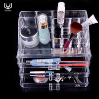 luluhut Transparent acrylic makeup organizer multifunctional drawer organizer crystal cosmetic organizer 15 grids storage boxes