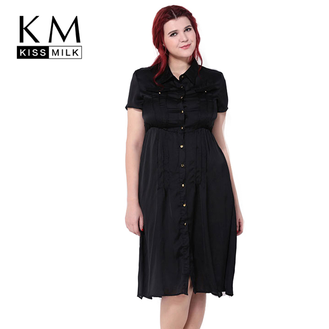 US $23.83 |Kissmilk Plus Size New Fashion Women Big Size Retro Slim Short  Sleeve Pocket Button Down Shirt Dress 3XL 4XL 5XL 6XL-in Dresses from ...