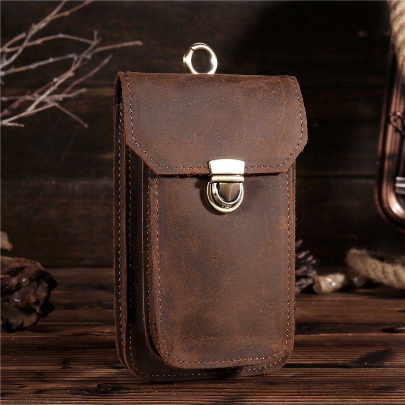 2018 New Men's Crazy Horse Genuine Leather Waist Bag Vintage Hip Belt Bum Pack Travel Fanny Pack Belt Loops Purse Pouch B2089 15 цена