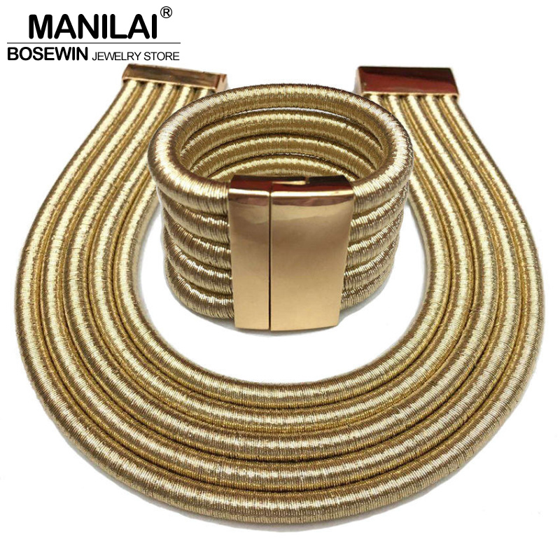 MANILAI Bracelets-Set Jewelry-Sets Necklace Collar Choker Boho Fashion Women Hot Bijoux