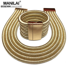 MANILAI 2017 Hot Boho Collar Necklace Jewelry Sets Fashion Magnetism Button Multilayer Choker Necklaces Bracelets Set Women