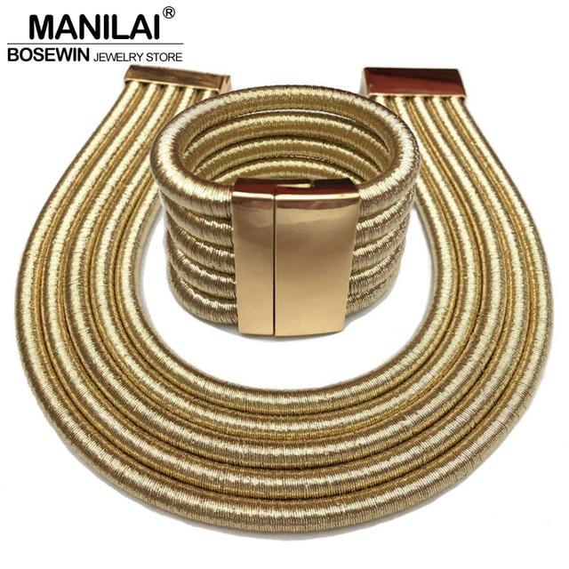 Manilai 2017 Горячие бохо-воротник колье, ювелирные наборы мода, кнопка Многослойные колье ожерелья браслеты женские
