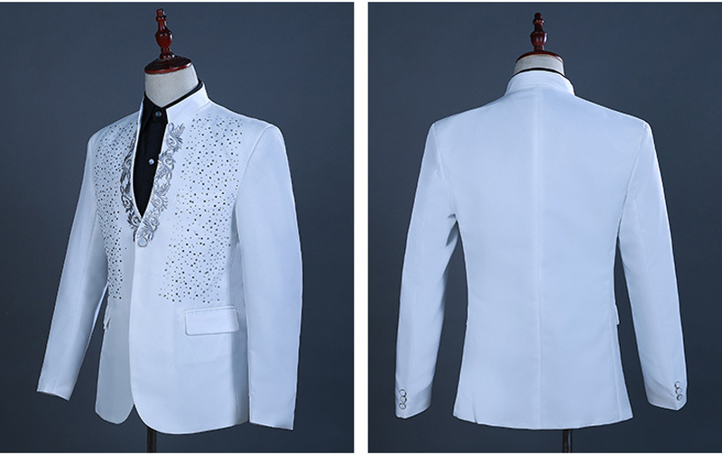 2 Pieces White One Button Gold Embroidery Diamond Suit Men Brand Stand Collar Slim Fit Wedding Groom Mens Suits With Pants Terno