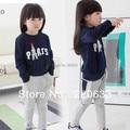 retail 2014 autumn clothing,paris letter clothes for children/kids baby girl,sweater+pants 2pcs/set sport suit