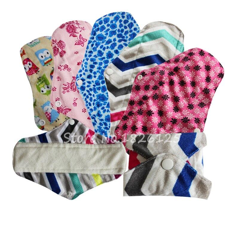 100% Bamboo Cloth Menstrual Pads Minky Reusable Sanitary Napkin Washable Cloth Pads