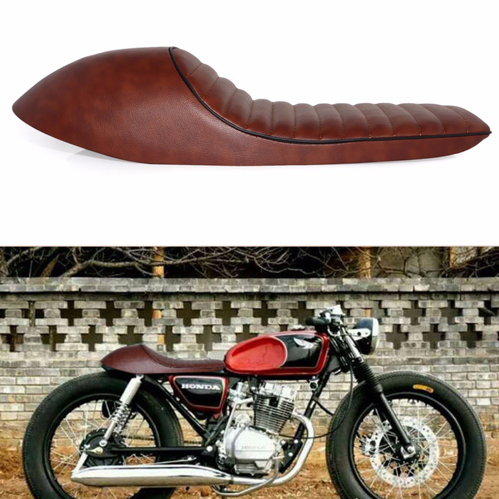 Motorcycle Brown Cafe Racer Vintage Saddle Hump Seat For Yamaha RD350 XT225 250 Suzuki GS500E GT380 T500 Kawasaki Z750 KZ650B dark green vintage hump cafe racer seat for honda kawasaki suzuki yamaha bmw cl