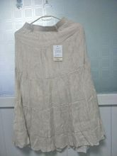 1 piece Womens Elegant High Waist Elastic Linen Pleated Long Skirts Ladies Slim Casual Skirt Saias with waist belt
