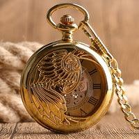 Steampunk Skeleton Relogio Automatico Mechanical Golden Luxury Phoenix Self Winding Nurse Pocket Watch Pendant Unisex Gift