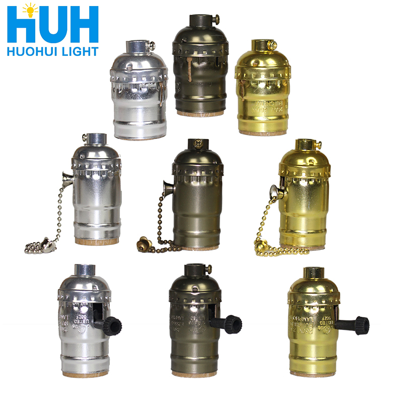 Vintage E27 Aluminum Retro Antique Lamp Base Holder Screw Aluminum Shell Bulb Light Screw Socket 3 Colors With Switch 110V/220V