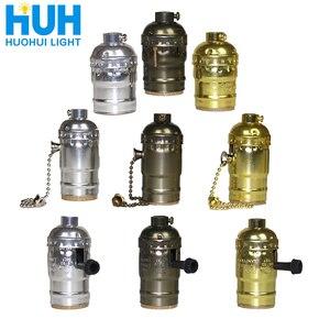 Vintage E27 Aluminum Retro Antique Lamp Base Holder Screw Aluminum Shell Bulb Light Screw Socket 3 Colors with Switch 110V/220V(China)