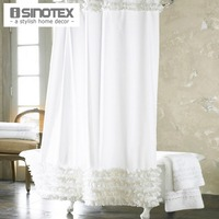 Home Decoration Bathroom Shower Curtain Waterproof Moldproof Solid Polyester Fabric Lace Curtain With Hook Elegant White