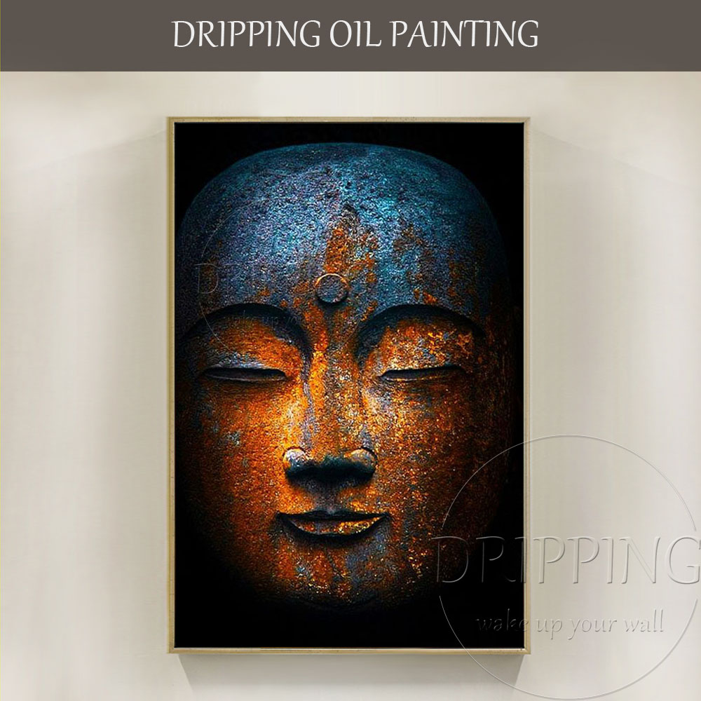 Luxury Wall Art Artist Pure Hand-painted High Quality Buddha Figure Oil Painting on Canvas Wall Art Buddha Head Oil Painting